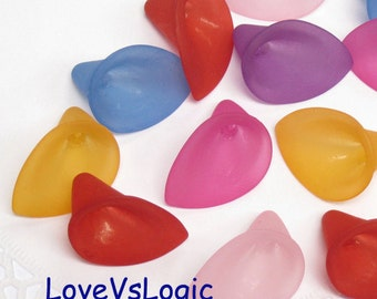Wholesale. 120 Huge Acrylic Calla Lily Beads in Mix Matte Colors