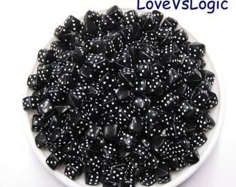 50 Cubic Dice Acrylic Beads. 8mm. Black.