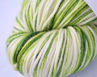 Hand-dyed Superwash Worsted Yarn Semi-solid Green Merino 4 oz Skein