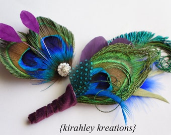 Peacock Feather Boutonniere + Hair Clip Set Bride Bridesmaid Wedding Prom Hairpiece Rhinestone SANGRIA ATREYA Groom Groomsmen Buttonhole Pin