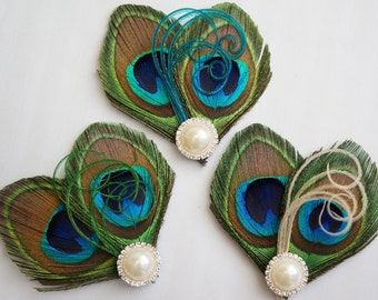 Peacock Feather Bride Bridal Bridesmaid Hair Clip Wedding Fascinator ARIA Blue Green Champagne Herl Sparkling Pearl Rhinestone Embellishment