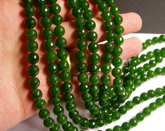 Jade - 8 mm faceted round beads -1 full strand - 48 beads - color  green Jade - RFG1164