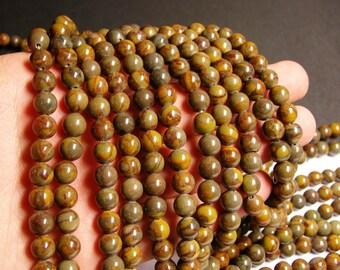 Bamboo leaf Jasper - 8 mm round beads -1 full strand - 52 beads - RFG1148