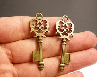Antique key charms - 12 pcs - brass - antique bronze - 48mm by 17mm - BAZ62