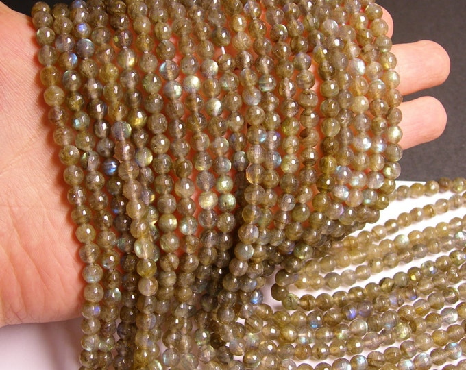 Labradorite - 6mm faceted round beads -1 full strand - 67 beads - A Quality -  MLL2