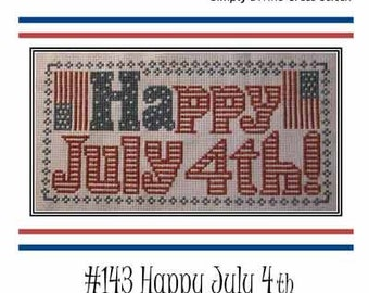 PDF E pattern emailed July 4th Patriotic Flag Cross Stitch Pattern  Sampler 143