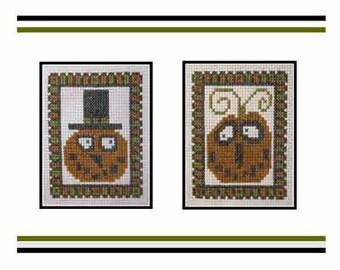 Cross Stitch PDF E pattern emailed Halloween Autumn Pumpkins Pattern Sampler Design 146
