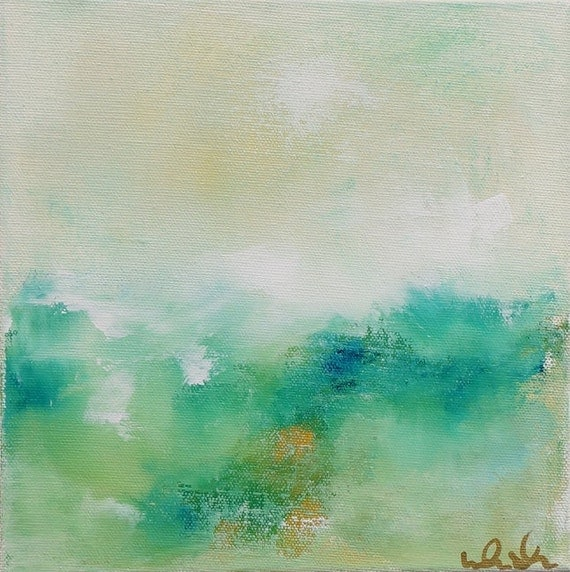 Blue Abstract Seascape Landscape Painting in Frame - SB8B95 8 X 8
