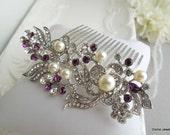 Bridal Rhinestone Hair Comb,Wedding Rhinestone Hair Comb,Rose Rhinestone Hair Comb,Swarovski Crystals,Purple Hair Comb,Amethyst,Pearl,ROSSE