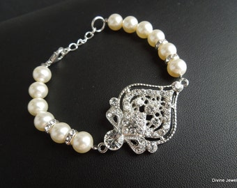 Pearl Bracelet Bridal Rhinestone Bracelet Ivory swarovski Pearls Rhinestone Bracelet Statement Bridal Bracelet Pearl Bridal Bracelet STELLA