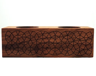 Twin Flame Geometric Tessellation Engraved Walnut Candle Holder - Both Tealight & Tapered Candlesticks - Wood Centerpiece