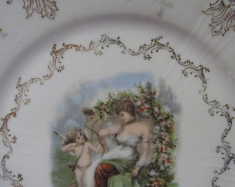 Vintage Cherub Plate - Z. S. and Co. - BAVARIA - Delicate Scroll Work - Gilded - Victorian - Cupid with Lady - Angel - Garden