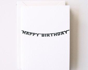 Birthday Banner - Letterpress Printed Greeting Card