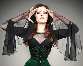 Mesh blouse huge sleeves goth vampire lace gothic black