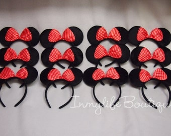 SUPER SALE******* 12 Lot Minnie Mouse Black Ears with Red Polka Dot Bows Headband Birthday Princess Mickey SALE*******