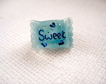 Small puffy candy pin brooch - Candy Sweet in Blue