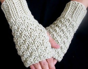 Wrist Warmers Beige Texting Gloves Handmade Hand Knit for Women in Wool and Acrylic