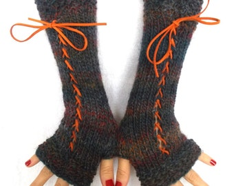 Hand Knit Corset Gloves Fingerless Arm Warmers in Blue Copper Burgundy