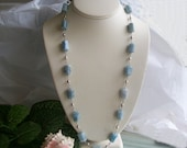 Aquamarine Sterling Necklace.