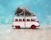 Holiday Photography, VW Bus Christmas, vintage toy, christmas tree, teal, red, white, snow, glitter, bow