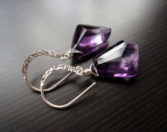 Amethyst Earrings, Wire Wrapped, Birthstone Jewelry, Dangle Earrings, February Birthstone, Gemstone Jewelry, Sterling Silver
