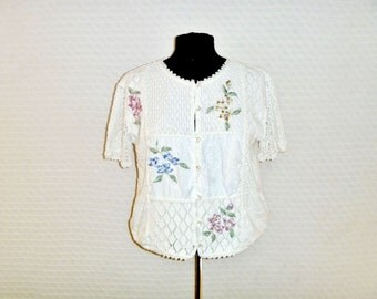 Vintage 1970's Hand-Made Crochet Knit Over-sized Crop Top Woven Patchwork Motif with Floral Tiles