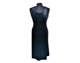 Angel/Demon Vintage 90's Black Velvet Floor-Length Bodycon Tank Dress Size Medium