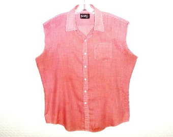 Sportswear by Sears XL Tall Size Checkered Gingham Red and White Men's Button Down Cut-Off Sleeves Tank Top Shirt