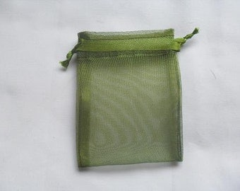 100 Olive Green Organza Bags / favor bags 4 x 6 inch jewelry supplies wedding