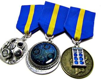 Steampunk Cosplay Medal // Custom DOUBLE CHARM Medallion // Blue Yellow Ribbon
