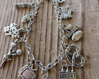 Football and Tailgating Silver Charm Bracelet