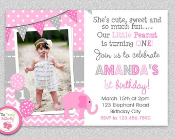 Elephant Birthday Invitation , Elephant Birthday Party Invitation Printable