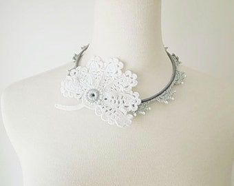 Irish Crochet Lace Jewelry (Lady with Fan) Fiber Jewelry, Hoop Necklace,Crochet Necklace