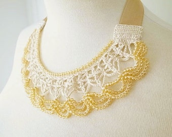 Crochet Lace Jewelry (Moon Light) Statement Necklace, Fiber Art Jewelry, Crochet Necklace