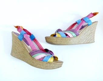 80s Rainbow Platform Espadrilles- 8.5, Leather, Disco, Summer, Kawaii, Cute