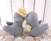 Love Birds Wedding Cake Topper, Grey and Canary Yellow, Bride and Groom Keepsake, Fully Customizable