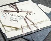 Teal Wedding Invitations, Modern Script Wedding Invitation, Black, White & Blue, Modern Calligraphy - Flat Panel, 1 Layer, v2- SAMPLE
