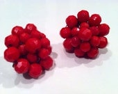 RED Lipstick Fire Made in Germany WEST Crystal Beads Plastic Cluster 1940s Clip Earrings Jewelry artedellamoda marked stamped Mad Men Style