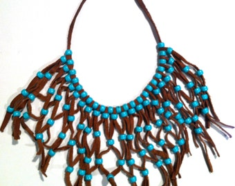 MAGNIFICENT Bib Necklace Statement RUNWAY Brown Turquoise Blue Genuine Handmade Indian Native American West Vintage talkingfashion Ethnic