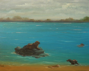 """Original OOAK Hand-Painted Oil Painting """"Seals in the Surf"""" Seascape 11 x14 Canvas"""