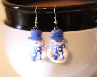 Blue and White Snowman Earrings - Repurposed Christmas Ornaments - Blue and White Snowmen - Holiday Jewelry - Christmas Earrings