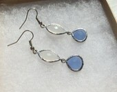 The Lily- White Opal Faceted Marquise and Periwinkle Blue Silver Dangle Earrings
