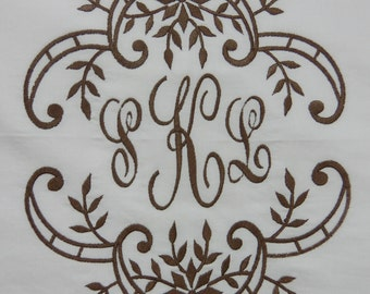 Monogrammed Pillowcase-Embroidered in any color you desire--FULL ELEGANT