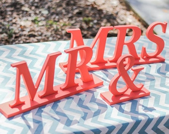 Coral Mr & Mrs Table Signs for Wedding for Sweetheart Table Decor - Wedding Signs Mr and Mrs Letters Wedding Signs ( Item - MB100 )