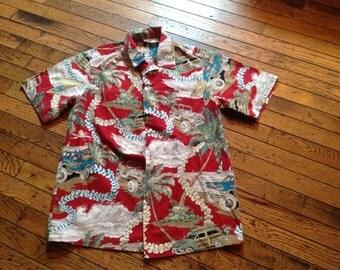 Vintage Hawaiian Island Aloha Wear Woody Shirt M