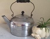 Revere Ware Tea Kettle / Vintage Tea Kettle / Chrome Plated Kettle / Wood Handle Tea Kettle / Vintage Kettle / Vintage Planter