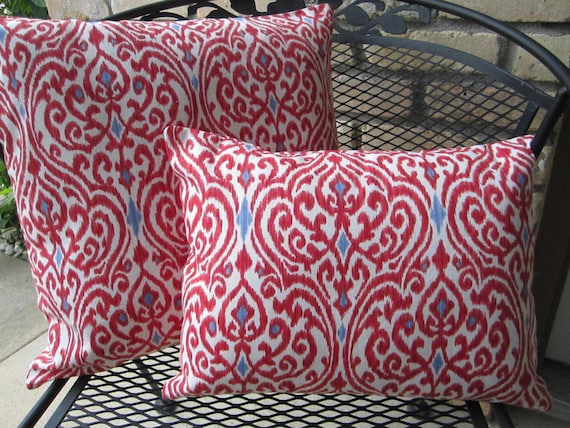 Pillow Covers Red White Blue Moroccan Design Style Cushion Covers - STYLE SIZE CHOICE