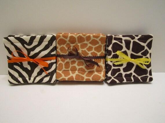 Fabric Drink Coasters Mug Rugs - WILD Animal Zebra or Giraffe Design -CHOICE - Set of 4