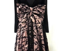 vintage bow-back ball gown - 1980s Susan Beebe black/pink full skirt long formal dress