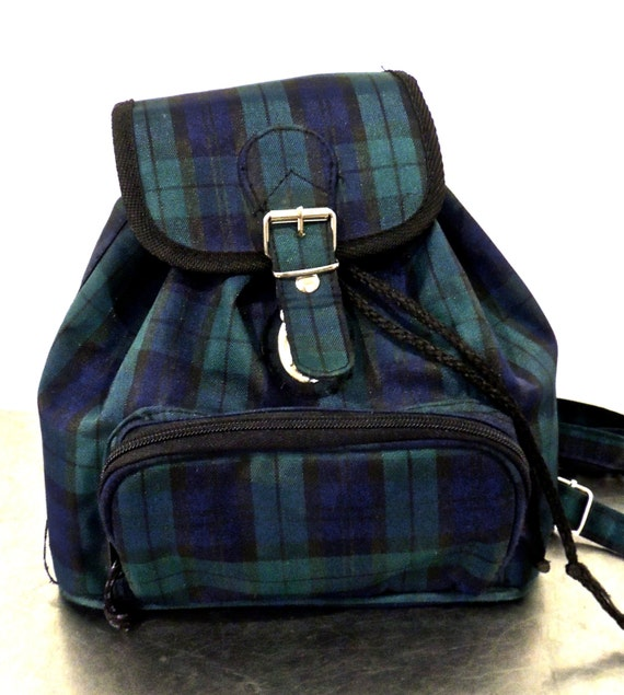vintage plaid backpack purse early 90s navy/green plaid by mkmack